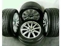 "Audi 18"" alloys and tyres, exclusive 10 spoke design very rare. Cost over £1000"