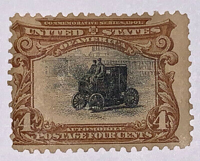 Travelstamps: 1901 US Stamps Scott # 296 Automobile, mint og hinged Pan-american