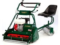 "Allett Buckinham 24"" Petrol Mower with ride on seat accessory and grassbox."