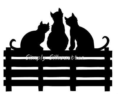 CAT CHOIR ON RICKETY FENCE - SILHOUETTE DIE CUTS FOR CARD TOPPERS, OTHER CRAFT