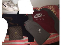 Nike Air Tracksuit,Stone Island cardigan,Nike trainer air force1&LouisVuitton bag