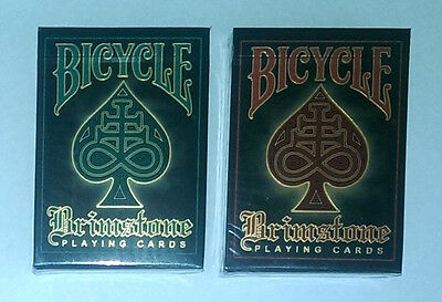 2 Deck Set- BRIMSTONE ~ AQUA and RED GOLD FOIL LIMITED EDITIONS Playing Cards