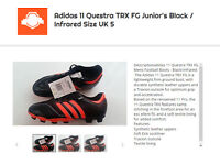 Adidas 11 Questra TRX Junior's FG Boots Size UK 5 Black Infrared
