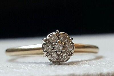 14K YELLOW & WHITE GOLD  DIAMOND CLUSTER RING 7 DIAMONDS SZ 7.5