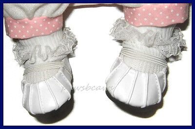"""WHITE Slip On Ballet Flats SHOES for 14"""" Reborn Baby Doll or BERENGUER BABIES"""