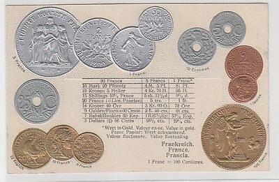 70096 Präge Ak Frankreich mit Abbildungen von Münzen um 1920