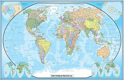 Large World Map Poster Wall Art Print Decoration 24x36 inches