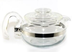 MINT PYREX GLASS FLAMEWARE TEAPOT  KETTLE 6 CUP COFFEE STOVE TOP