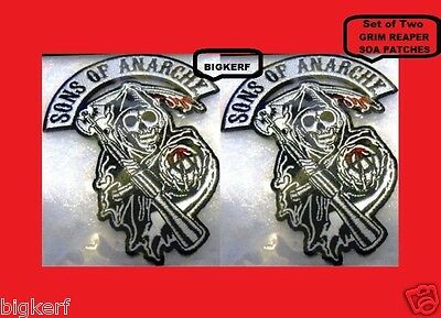 Sons Of Anarchy Patches (2   GRIM REAPER   SONS OF ANARCHY  BIKER PATCHES   JACKET VEST HAT - IRON OR)