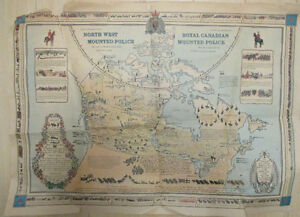 Vintage 1966 Royal Canadian Mounted Police Historical Map