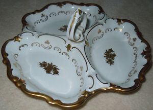 Vintage East German Handled Gold & White Dish