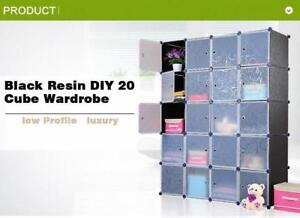 Black Resin DIY 20 Cube Wardrobe 251205