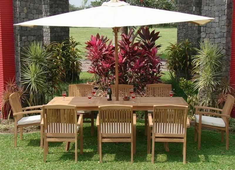 "9-piece Outdoor Teak Dining Set: 94"" Rectangle Table, 8 Stacking Arm Chairs Wave"