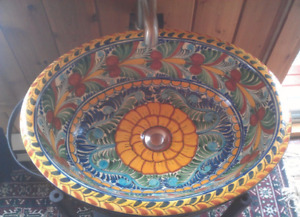 Mexican Tallavera sink with stand and faucet