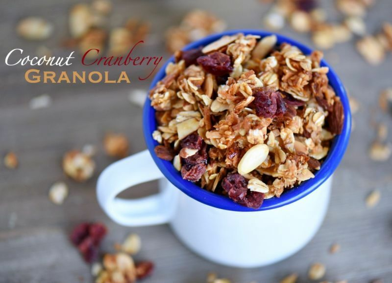 This Coconut Cranberry Granola is the perfect topping for yogurt, ice cream and more! Enjoy as a snack or for breakfast