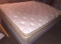Queen size chiropractic pillow top mattress+ box. Free delivery