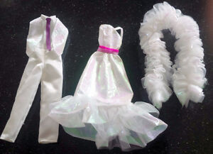 1983 CRYSTAL BARBIE DRESS + BOA + KEN Tuxedo + #4598 #4898 Cloth