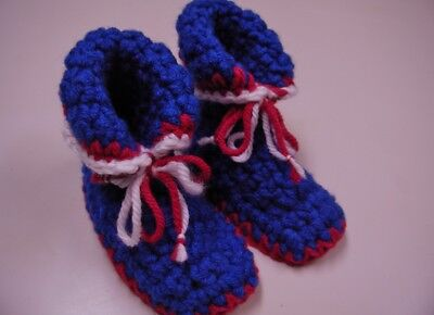 Grandma's Crochet soft/chunky Baby Boy bootie slippers. NY Giant colors 6-9 mo? 6 Mo Baby Bootie Booties