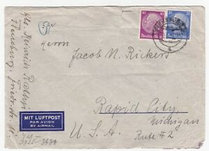 Germany Flensburg to Us Rapid City MI 1940's censored Airmail Cover