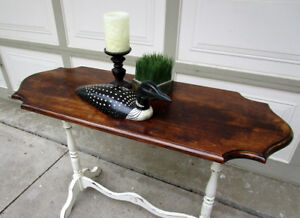 ANTIQUE SOLID WOOD SHABBY CHIC 2 TONE HALL/SOFA TABLE
