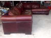 Leather Corner Sofa Brown Large