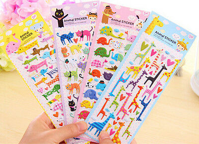 Lovely Cartoon 3D Bubble Sticker Cat Dog Giraffe Elephant for Kids Gift Toy BHCA