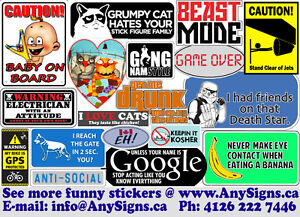 Funny Vinyl Stickers /Vinyl Decals for a window, vehicle, laptop