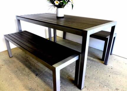 Outdoor Bench Table Wood 3pc Setting 100% Weather Proof BBQ POOL Berwick Casey Area Preview