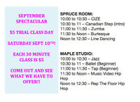 Saturday Sept 10th - $5 Trial Day at DANCE THROUGH LIFE!