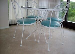 Vintage Hauser 5 piece glass top bistro table (repost)