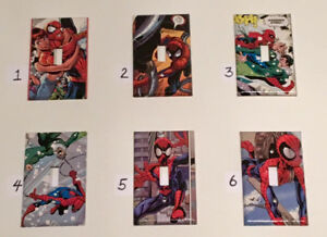 Custom-made SPIDER-MAN comic book light switch covers