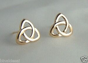 CLASSIC 9ct GOLD CELTIC KNOT STUDS EARRINGS Mums B'day ANNIVERSARY Love GIFT BOX