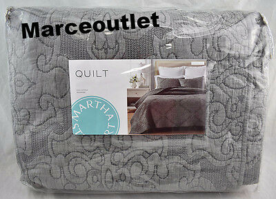 Martha Stewart Collection Gilded Age Full   Queen Embroidered Quilt Gray