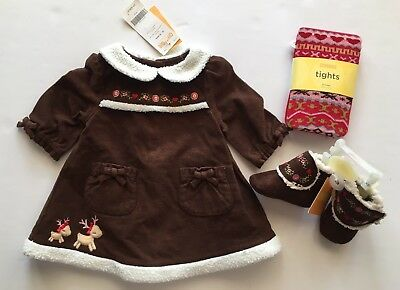 NWT Gymboree Colorful Village 0-3 Months Brown Reindeer Dress Tights & Booties