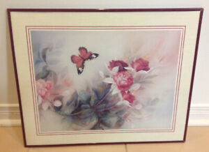 """Flowers & Butterfly Picture In Mahogany Colored Frame, 20""""x 16"""""""