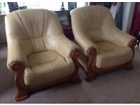 2 soft Cream/yellow leather chairs