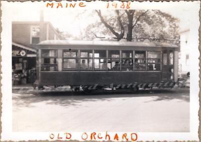 1938 Old Orchard Beach Maine Electric Railway Street Trolley Car Photo