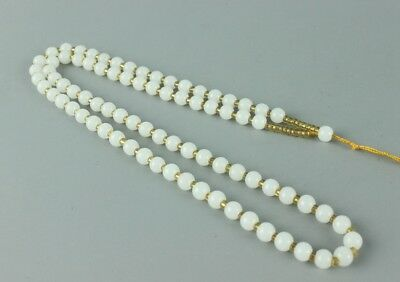 Chinese hand-woven white jade necklace