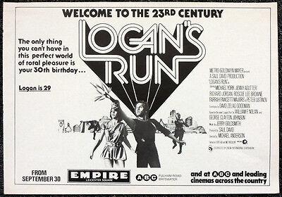 LOGANS RUN 1970'S FILM MOVIE POSTER . 8B