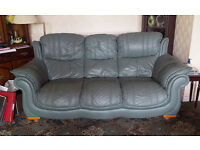 FREE - Sage green leather three seater sofa and single chair