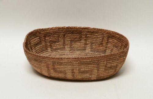 "Antique Pima Basketry Finger Dance Oval Bowl, c. 1910  2 3/4"" x 7 1/4"" x 10 1/8"""