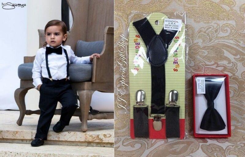Suspender And Bow Tie Set For Kids Toddler Boys Girls Children Ring Boy Matching