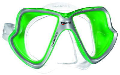 Mares X-Vision MID LiquidSkin Scuba Mask Clear-Green Silicone/Lime Green Frame