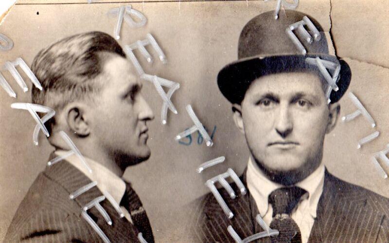1917 mug shot Philadelphia police crime Murder,Occupation Private Detective rare