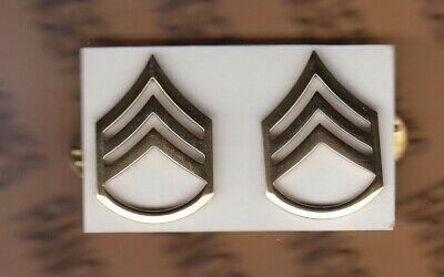 USA Enlisted Staff Sergeant SSG E-6 rank dress badge set pair c/b
