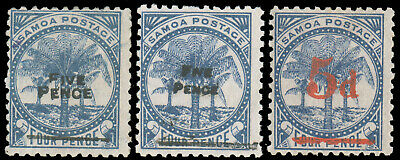 SAMOA 1893 PALMS SURCHARGE SET MINT #20-21 22a $182.50 SG #66 68 67 CV£190.00