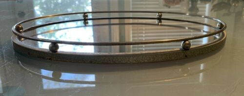 Vintage Vanity Tray Oval Mirrored Ornate Silver Floral Frame Victorian Art Deco