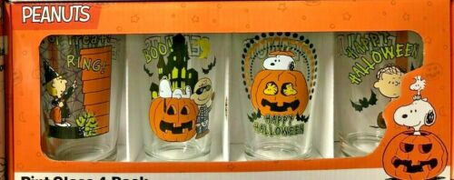 SNOOPY PEANUTS GANG HALLOWEEN PINT GLASS SET OF 4