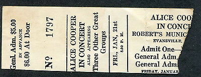 1972 Alice Cooper unused full concert ticket Evansville Killer Tour Schools Out