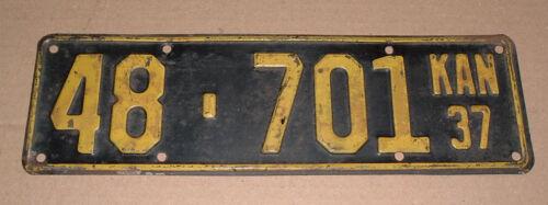 1937 Kansas License Plate 48-701 Rice County Car Tag